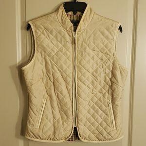 J. McLaughlin quilted silk vest, tan size M